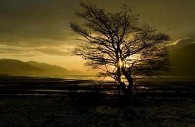 Winter sunset down Loch Linnhe