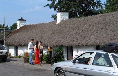 Visitors outside the Folk Museum in Glencoe